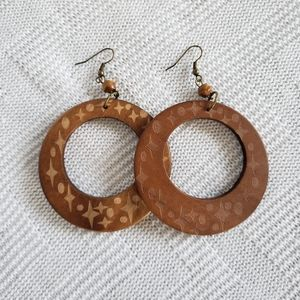 Wooden Boho Large Round Statement Earrings